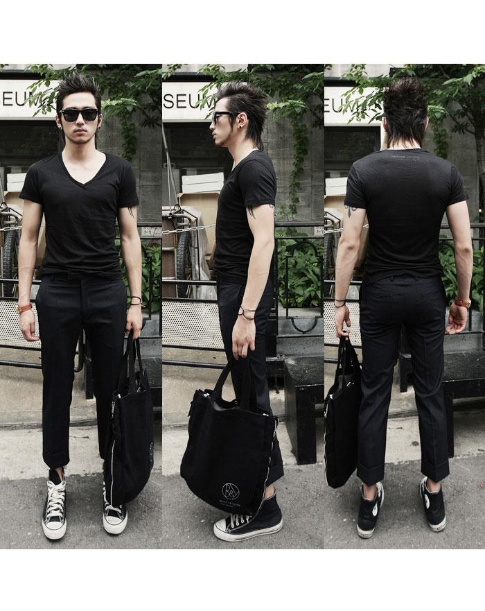 西装料9分裤-黑